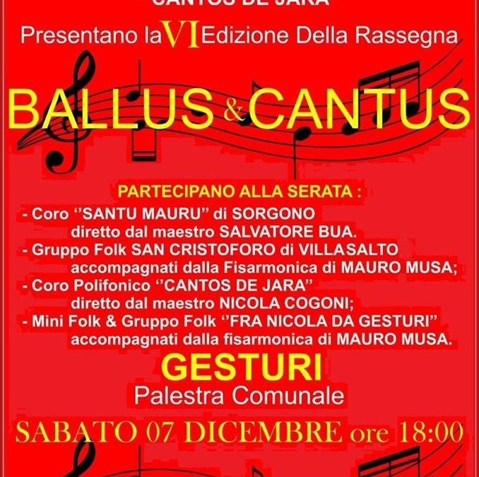 Ballus e Cantus, 7 dicembre 2019 Gesturi