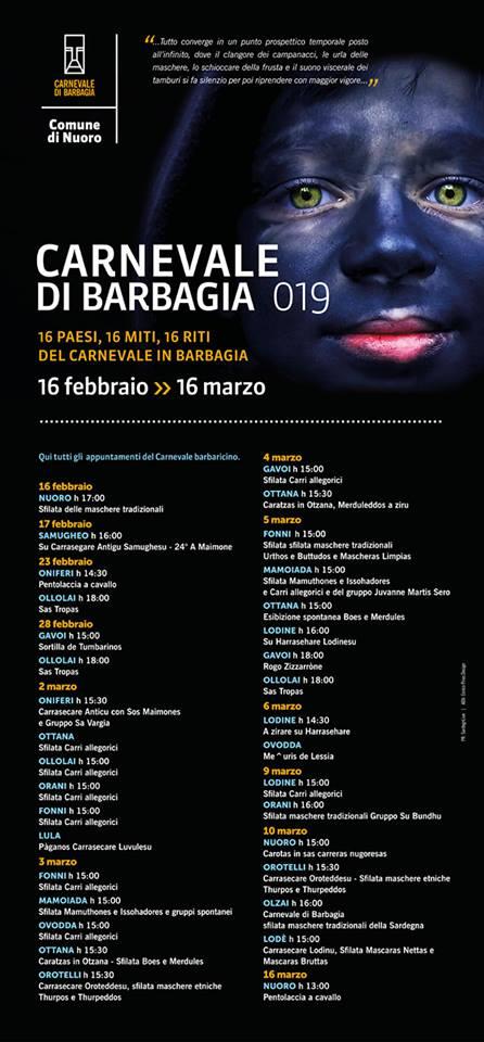Carnevale di Barbagia, calendario eventi 2019